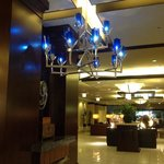 Gorgeous blue chandelier in Lobby