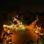 Plaza Gaudi at night. View from our unit.