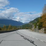 The highway from one of the lookouts near Squamish