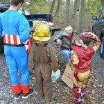 Trick or treating at campsite.