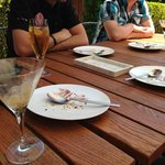 cake and espresso martinis in the ourdoor fireplace courtyard