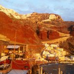 Sunset on oia from amoudi bay