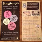 Snugburys advert pamphlets with hours and contact info.