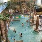View of Waterpark from Lobby - Zero entry pool is near the back, to the left (out of view)