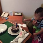 Complimentary birthday cake for my son