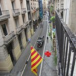 Looking towards La Ramblas from balcony
