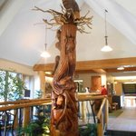 Large tree sculpture in Lobby of Manning Park Lodge
