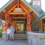 Standing at entrance of Manning Park Lodge