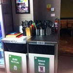 A clean rubbish and recycle bins.