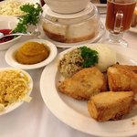 Chicken Dinner - all white meat with mashed potatoes & gravy, dressing, noodles & crackers and s