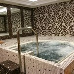 Jacuzzi in gym. Small, but quite pretty, with good water jets. There is a cold plunge pool nearb