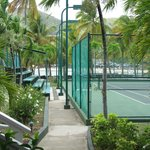 Tennis court area at Curtain Bluff