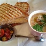 Grilled cheese and bean and bacon soup