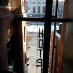 View into lobby & street from 3rd floor hall outside elevator