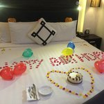 Bed decor for friend's birthday and complimentary cake YUM