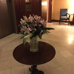 Fresh lilies in the Gold Floor elevator lobby