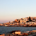 Naxos town in the eveing sun.