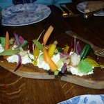 Pickled vegetables, goat's cheese