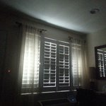 No black out curtains.  This is morning sunlight in the room. If you enjoy that sort of light wh