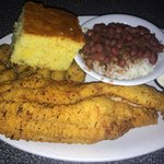 Catfish, Fried Okra, Red Beans & Rice