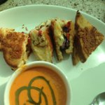 Vegetarian Grilled Sandwichw/ Cream of Pumpkin Soup
