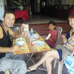 the happy French family stayed Duc Tuan hotel