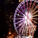 Outside view of the ferris wheel at night!