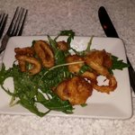 Calamari appetizer... Fed all three adults plus seconds! Some of the freshest, not frozen, tasti