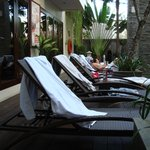 Lounge chairs beside the pool.