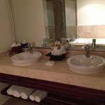 Double sinks in bathroom of Honeymoon Suite Room