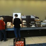 Nice Hot bar, fruits, cereals and pastries.