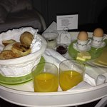 Yummy Breakfast set outside room