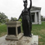 Statue of Minerva, one of so many striking statues throughout the cemetery