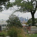 View of Manhattan skyline, from the cemetery located in Brooklyn