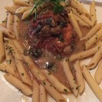 Chicken Marsala with penne pasta.