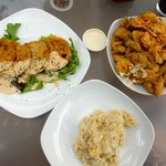 fried green tomatoes, fried pickles, cheese grits