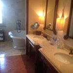 Spacious bathroom in ocean view suite. Separate tub and shower room
