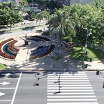 View from room; sidewalk and fork in Kuhio & Kalakaua Ave.