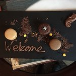 Welcome platter of chocolate