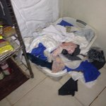 Dirty laundry in the kitchen