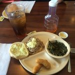 Ralph's chopped pork sandwich, collard greens, hush puppies, sweet tea. Another beautiful day in