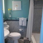 Loved the quaint turquoise-painted bathroom