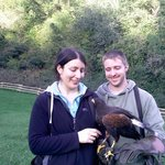Us with Charlie- the Harris Hawk