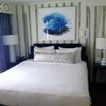 The comfy king bed in the suite