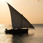 Dhow in front of hotel at sunset