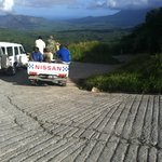 1/2 way to the  Volcano in the  background,  all of100 meters of smooth road
