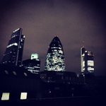 Night time view of the Gherkin.
