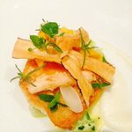 brill with crones, salsify puree and salsify crisps
