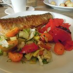 Whole trout with mixed salad and roasted red pepper salad