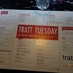 The Tuesday Lunch menu